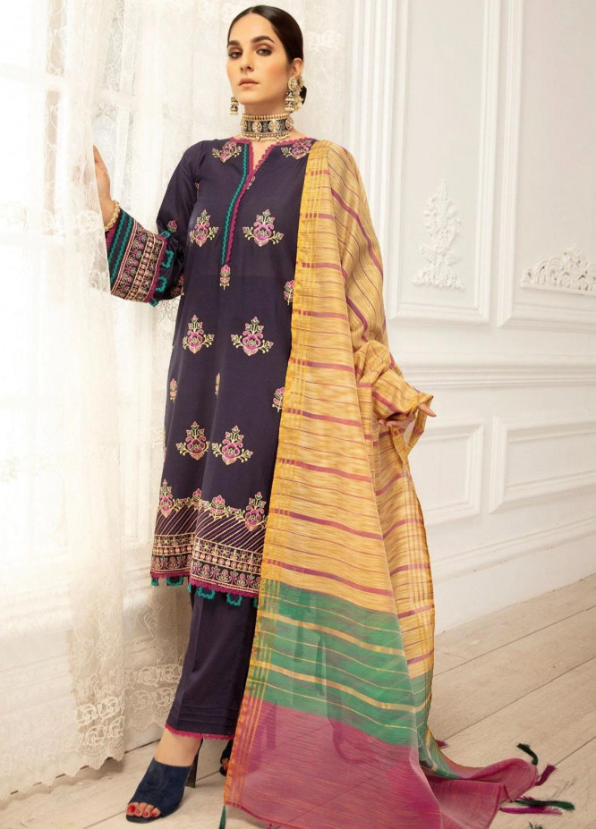 Mohagni Embroidered Lawn Suits Unstitched 3 Piece MO21LF MBD-21-04 - Summer Collection