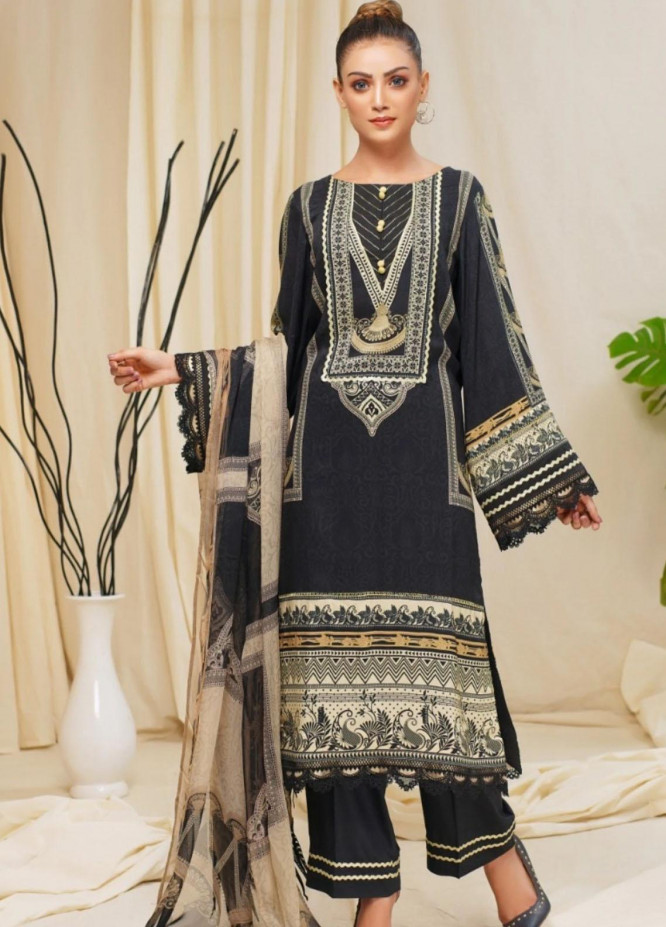 Mohagni Printed Linen Suits Unstitched 3 Piece MO21RJ MOB-21-04 - Winter Collection