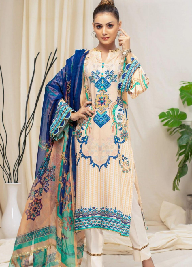 Mohagni Printed Linen Suits Unstitched 3 Piece MO21RJ MOB-21-05 - Winter Collection