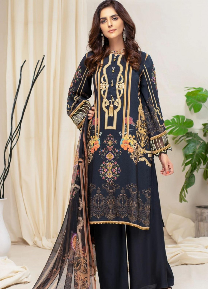 Mohagni Printed Linen Suits Unstitched 3 Piece MO21RJ MOB-21-06 - Winter Collection