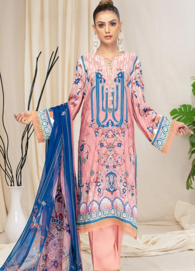 Mohagni Printed Linen Suits Unstitched 3 Piece MO21RJ MOB-21-07 - Winter Collection