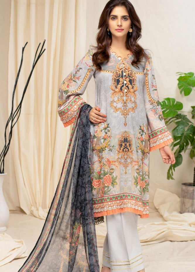 Mohagni Printed Linen Suits Unstitched 3 Piece MO21RJ MOB-21-08 - Winter Collection