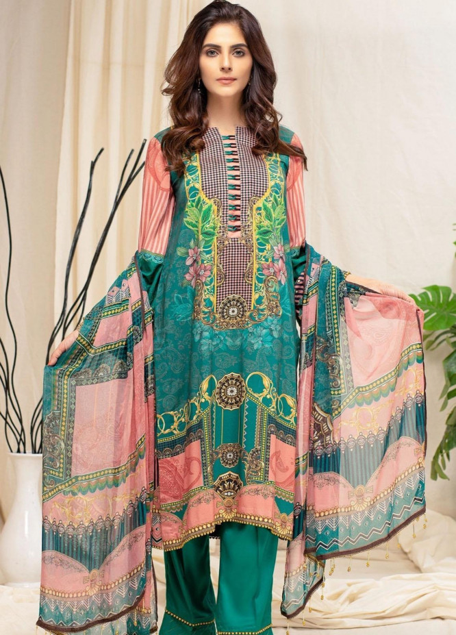 Mohagni Printed Linen Suits Unstitched 3 Piece MO21RJ MOB-21-09 - Winter Collection