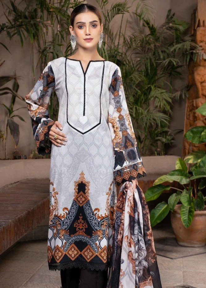 Mohagni Printed Linen Suits Unstitched 2 Piece MO21RJ TPL-21-02 - Winter Collection