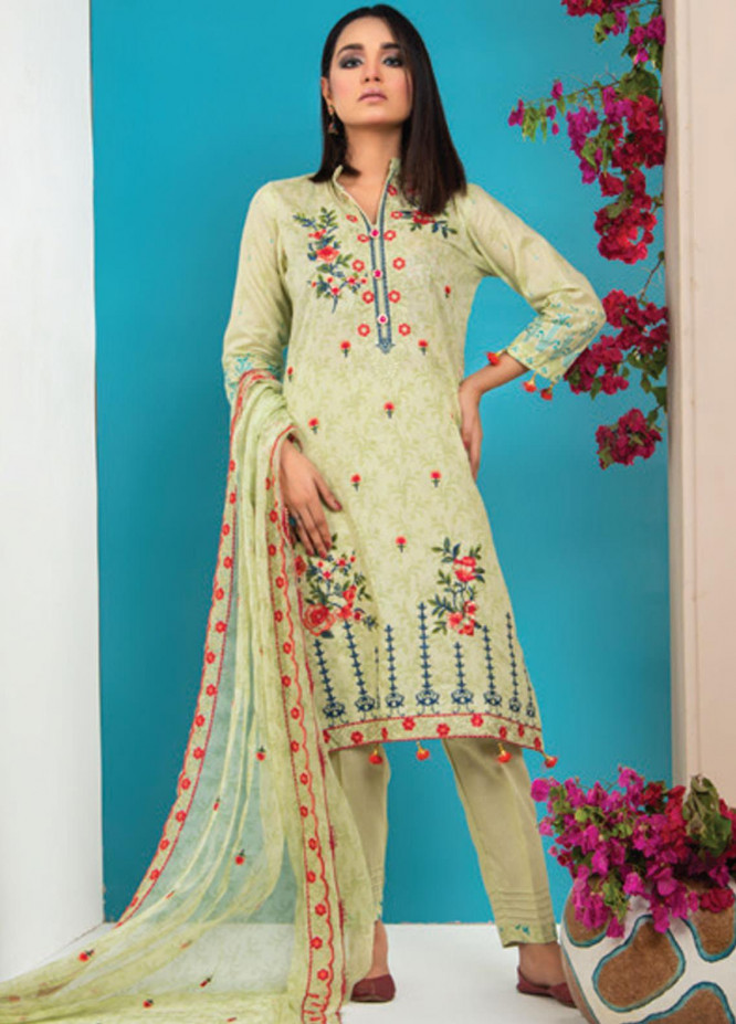 MTF Embroidered Lawn Suits Unstitched 3 Piece MTF21HF D-02 - Summer Collection