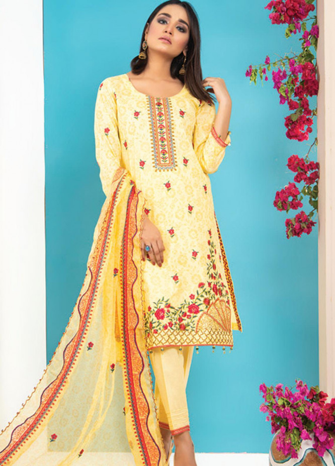 MTF Embroidered Lawn Suits Unstitched 3 Piece MTF21HF D-03 - Summer Collection