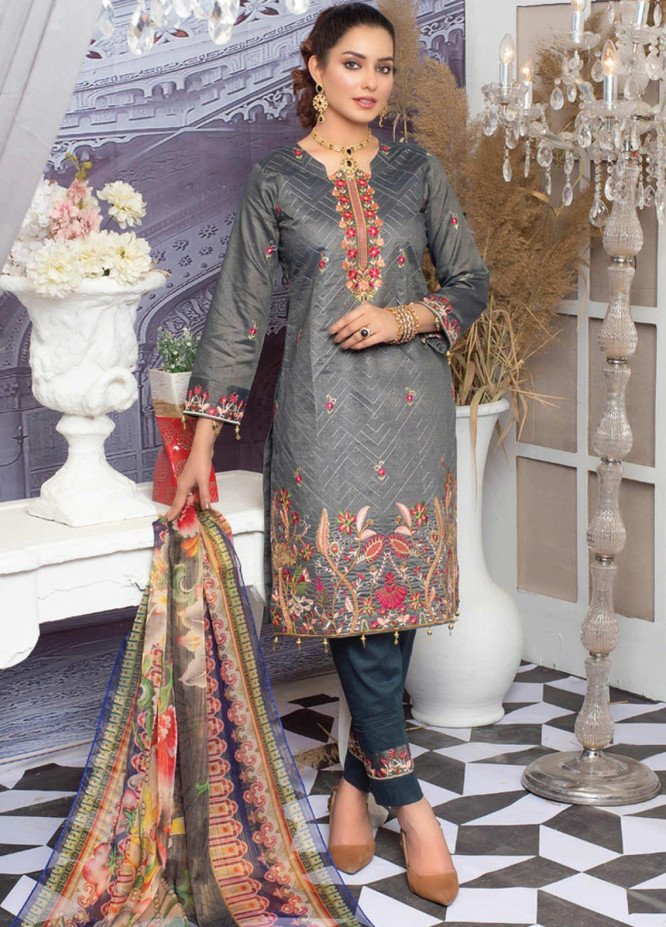 MTF Embroidered Lawn Suits Unstitched 3 Piece MTF21NR MTF-04 - Summer Collection