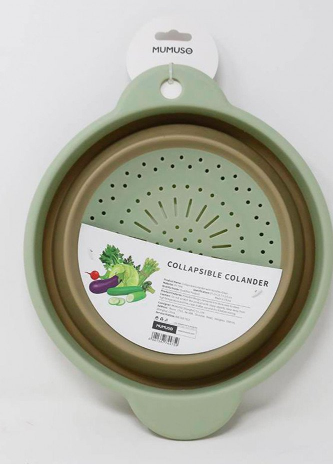 Mumuso Collapsible Colander with Handles-Green