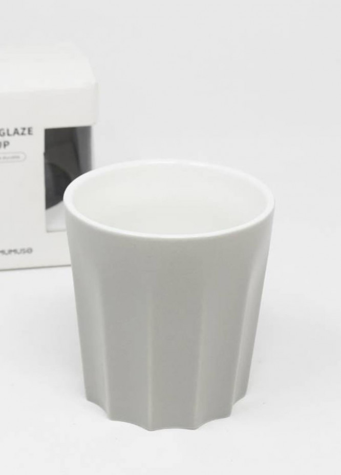 Mumuso COLOURED GLAZE CERAMIC CUP WITHOUT HANDLE-GREY