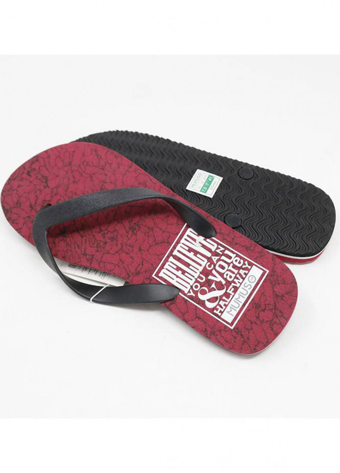 Mumuso Casual Style  Flat Flip Flop Wine Red