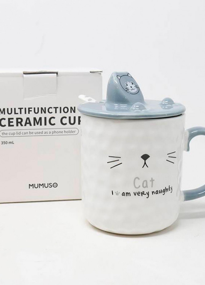 Mumuso Multifunction Ceramic Cup with Phone Holder-Grey