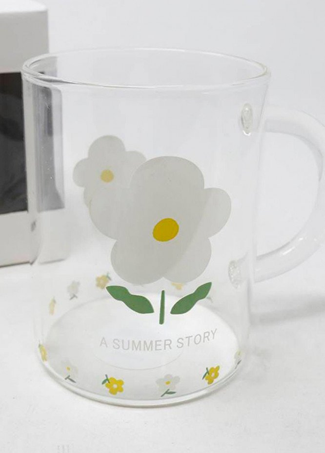 Mumuso TRANSPARENT GLASS CUP (WHITE FLOWER)