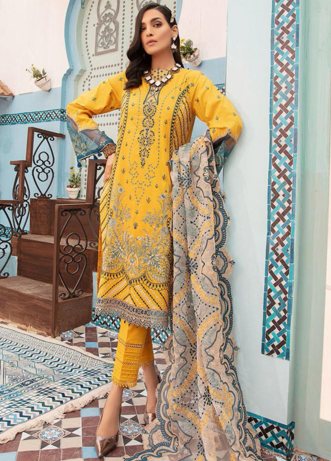 MusCari Embroidered Lawn Suits Unstitched 3 Piece MC21L MLC-04 - Summer Collection
