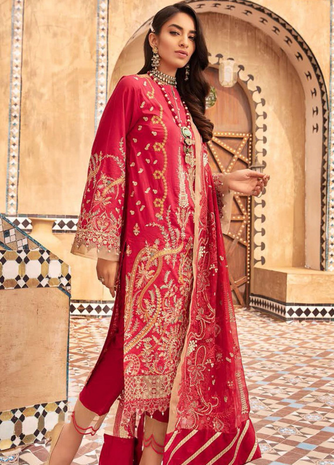 MusCari Embroidered Lawn Suits Unstitched 3 Piece MC21L MLC-07 - Summer Collection
