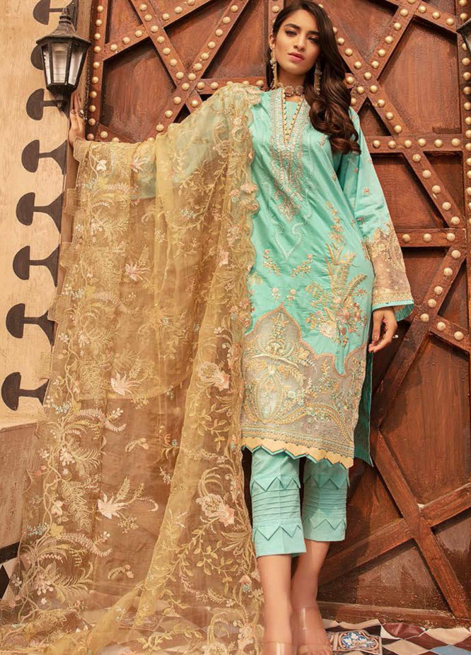 MusCari Embroidered Lawn Suits Unstitched 3 Piece MC21L MLC-09 - Summer Collection