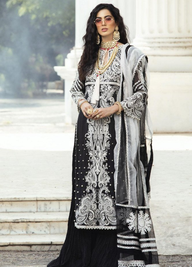 Mushq Embroidered Cotton Net Unstitched 3 Piece Suit MQ20F MCK-01 KANWAL - Luxury Collection