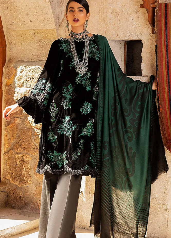 Winter Sky by Mushq Embroidered Velvet Unstitched 3 Piece Suit MQ20W 09 Jasper - Winter Collection