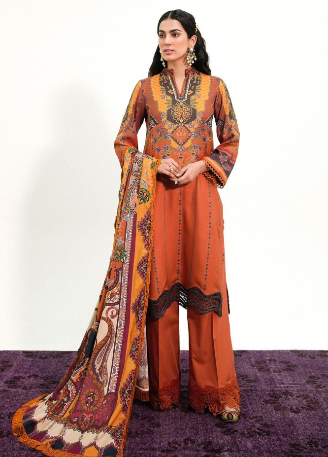 Muskaan By Nuriyaa Printed Linen Suits Unstitched 3 Piece NR21M KASHNI - Winter / Fall Collection