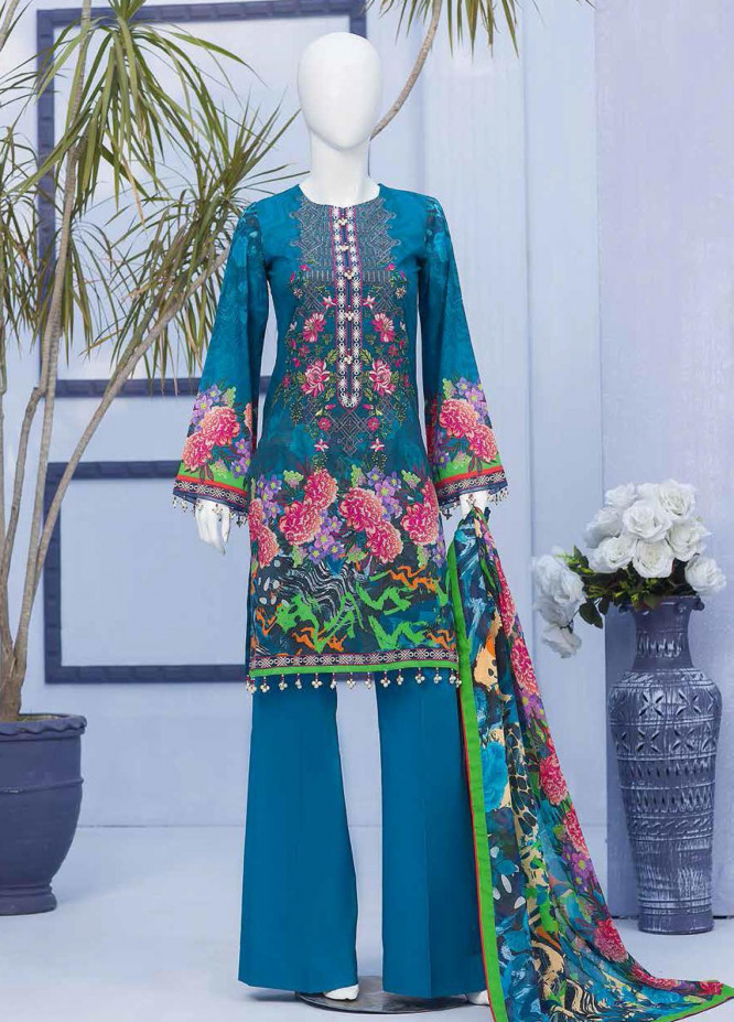 Nafeesah By Flossie Embroidered Lawn Suits Unstitched 3 Piece FL21N 05 Sexony Blue - Summer Collection