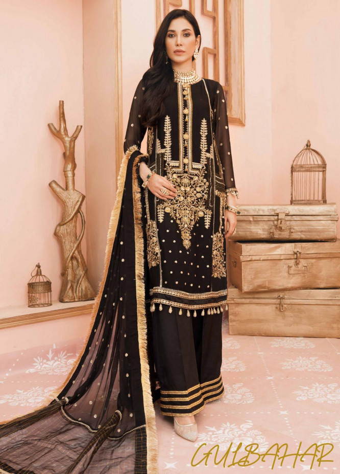 Namal By Sanaya Embroidered Chiffon Suits Unstitched 3 Piece SNY21N 02 GUL BAHAR - Wedding Collection