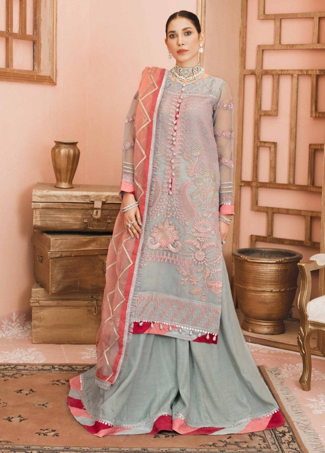 Namal By Sanaya Embroidered Organza Suits Unstitched 3 Piece SNY21N 04 ROHEEN - Wedding Collection