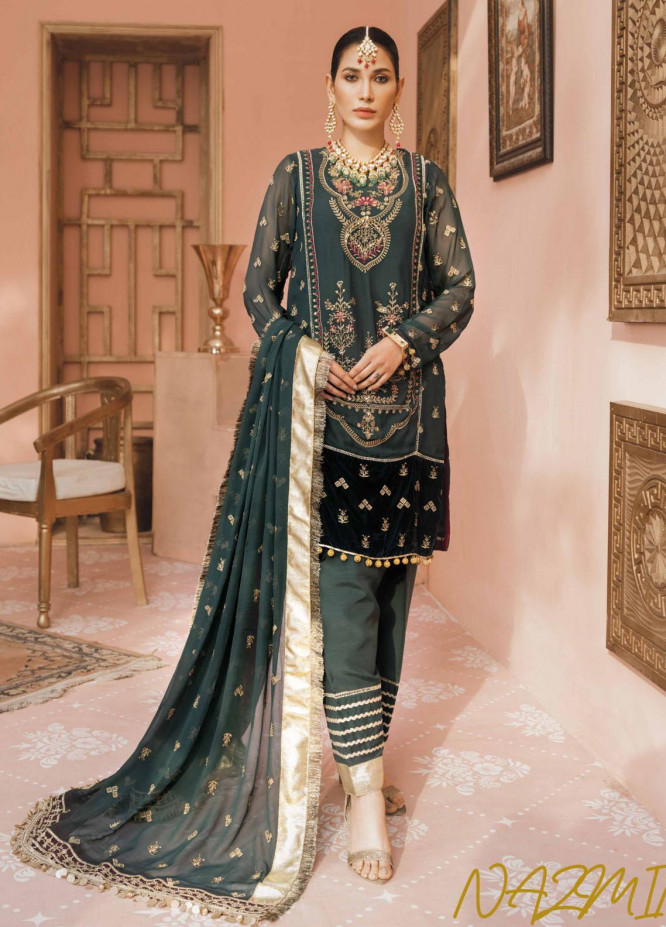 Namal By Sanaya Embroidered Chiffon Suits Unstitched 3 Piece SNY21N 05 NAZMIN - Wedding Collection
