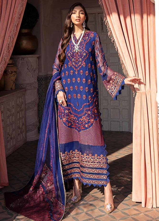 Nauratan By Afrozeh Embroidered Chiffon Unstitched 3 Piece Suit AF21N 08 Lori - Luxury Collection