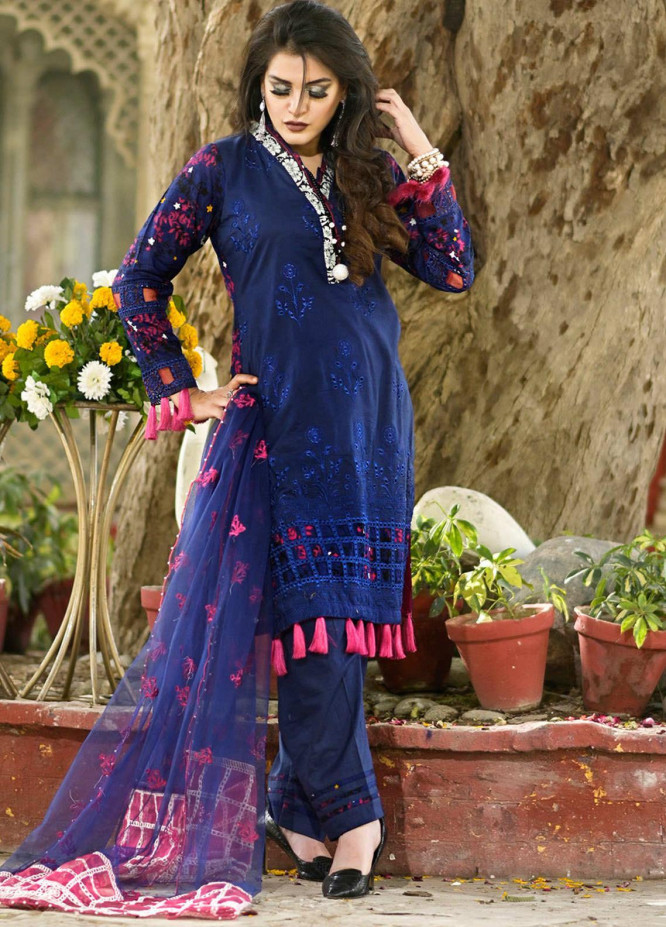 Nazia Malik Chikankari Lawn Suits Unstitched 3 Piece NZM21L 06-Carnation - Luxury Collection
