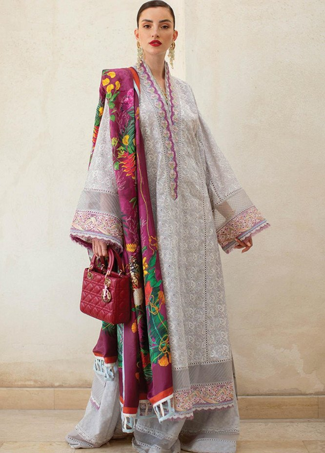 NERA by Farah Talib Embroidered Lawn Suits Unstitched 3 Piece FTA21N 13 Dove - Summer Collection