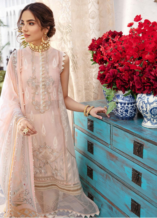 Noor by Saadia Asad Embroidered Chikankari Suits Unstitched 3 Piece NSA21E 1A - Festive Collection