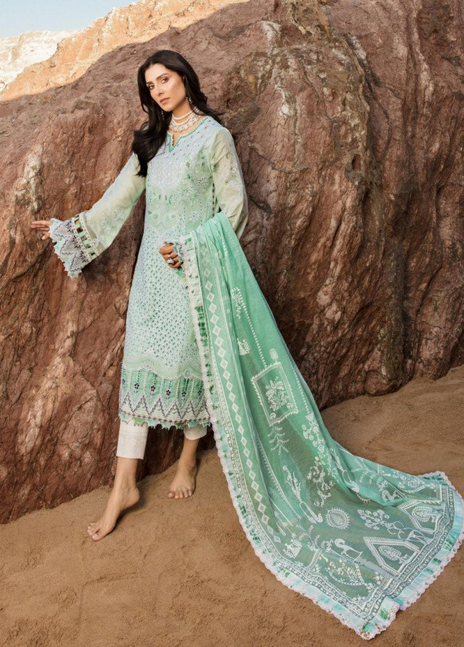 Noor by Saadia Asad Embroidered Lawn Suits Unstitched 3 Piece SA21NL 11B - Luxury Collection
