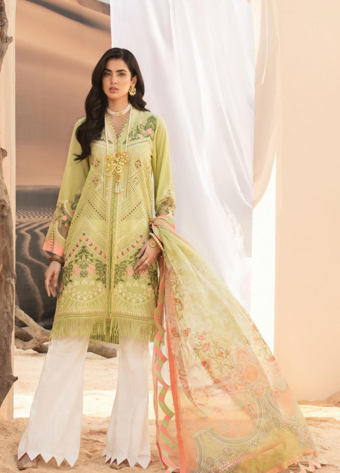 Noor by Saadia Asad Embroidered Lawn Suits Unstitched 3 Piece SA21NL 1A - Luxury Collection