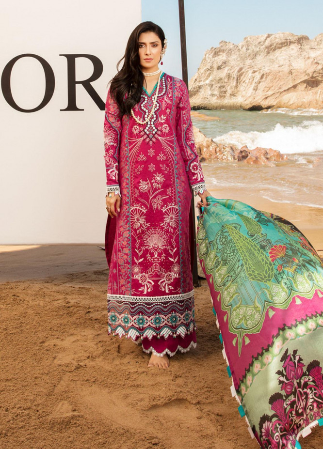 Noor by Saadia Asad Embroidered Lawn Suits Unstitched 3 Piece SA21NL 3A - Luxury Collection