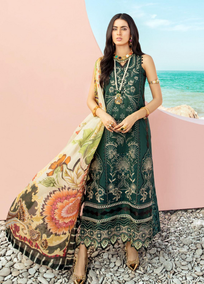 Noor by Saadia Asad Embroidered Lawn Suits Unstitched 3 Piece SA21NL 3B - Luxury Collection