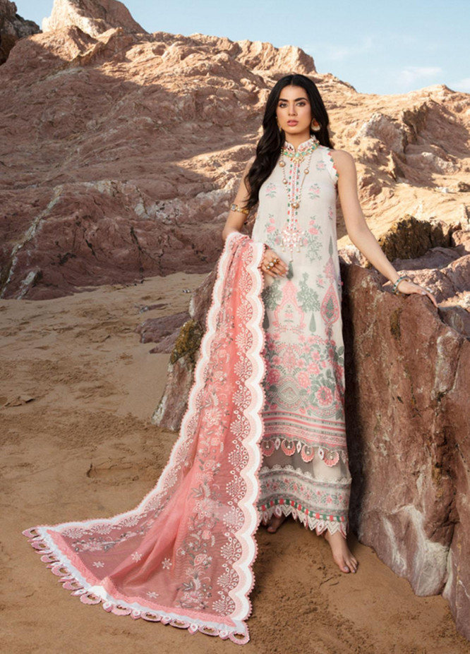 Noor by Saadia Asad Embroidered Lawn Suits Unstitched 3 Piece SA21NL 5A - Luxury Collection