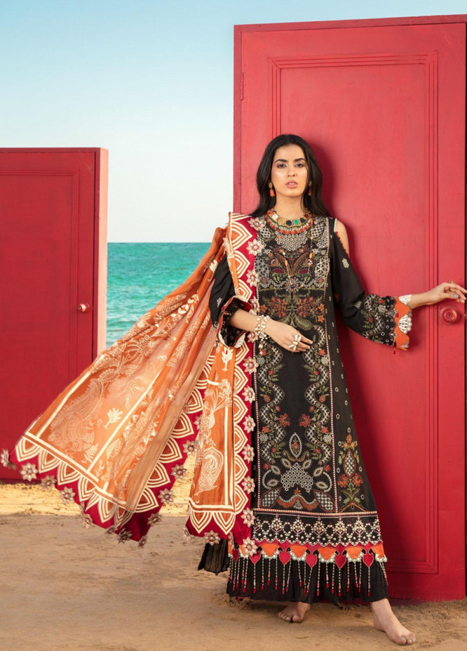 Noor by Saadia Asad Embroidered Lawn Suits Unstitched 3 Piece SA21NL 6A - Luxury Collection