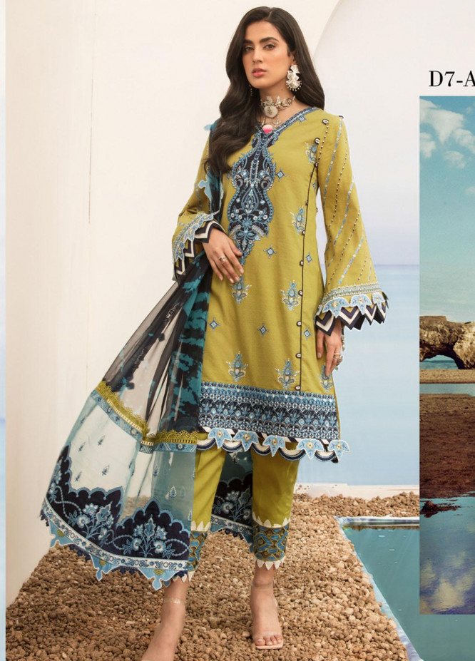 Noor by Saadia Asad Embroidered Lawn Suits Unstitched 3 Piece SA21NL 7A - Luxury Collection