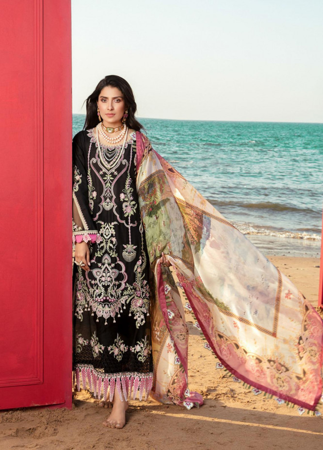 Noor by Saadia Asad Embroidered Lawn Suits Unstitched 3 Piece SA21NL 8B - Luxury Collection