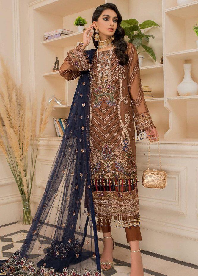 Nourang by Maryam's Embroidered Chiffon Suits Unstitched 3 Piece MRM21NC D-214 - Festive Collection