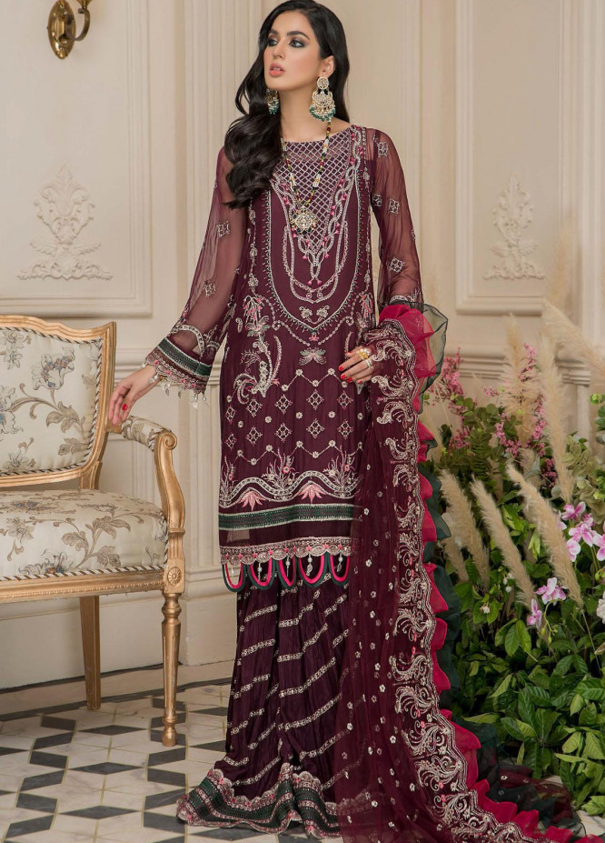 Nourang by Maryam's Embroidered Chiffon Suits Unstitched 3 Piece MRM21NC D-215 - Festive Collection