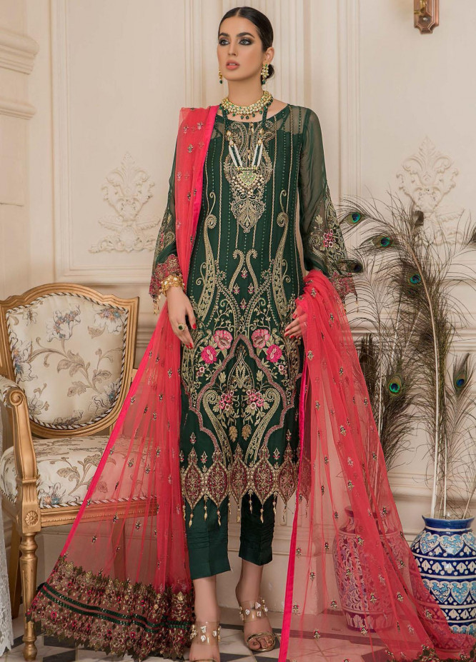 Nourang by Maryam's Embroidered Chiffon Suits Unstitched 3 Piece MRM21NC D-217 - Festive Collection