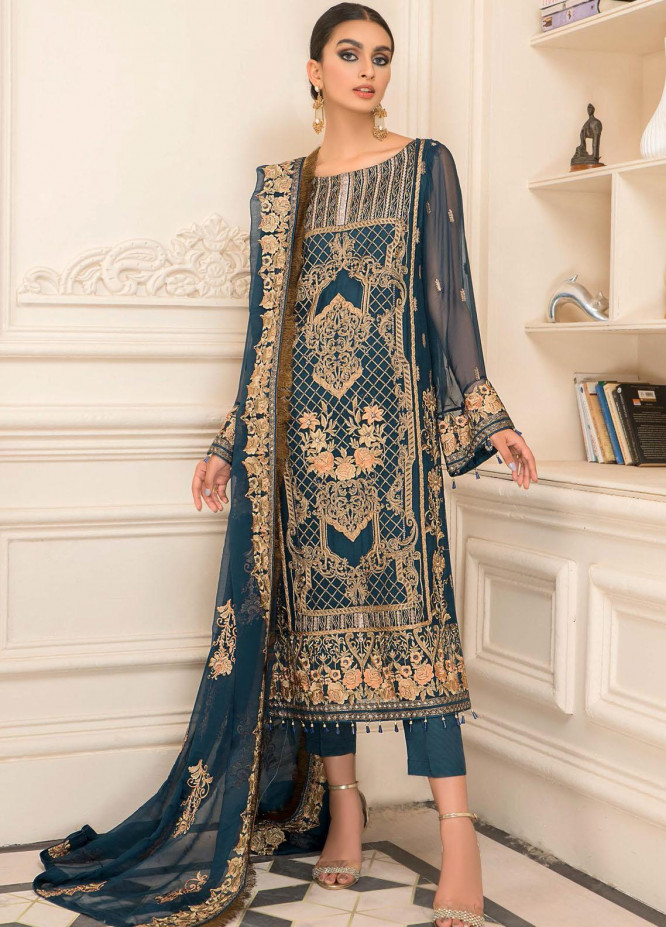 Nourang by Maryam's Embroidered Chiffon Suits Unstitched 3 Piece MRM21NC D-219 - Festive Collection