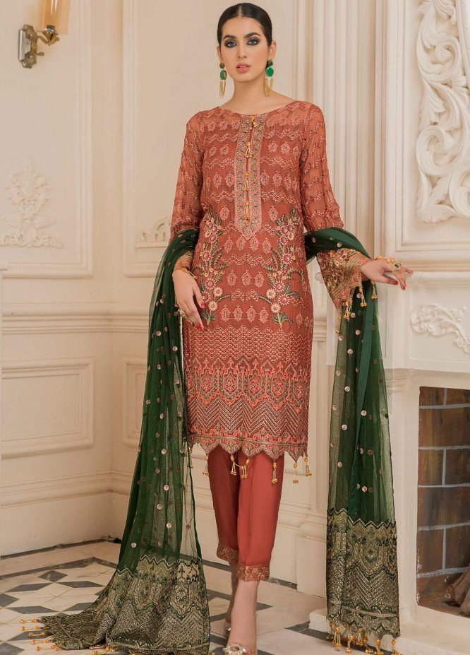 Nourang by Maryam's Embroidered Chiffon Suits Unstitched 3 Piece MRM21NC D-220 - Festive Collection