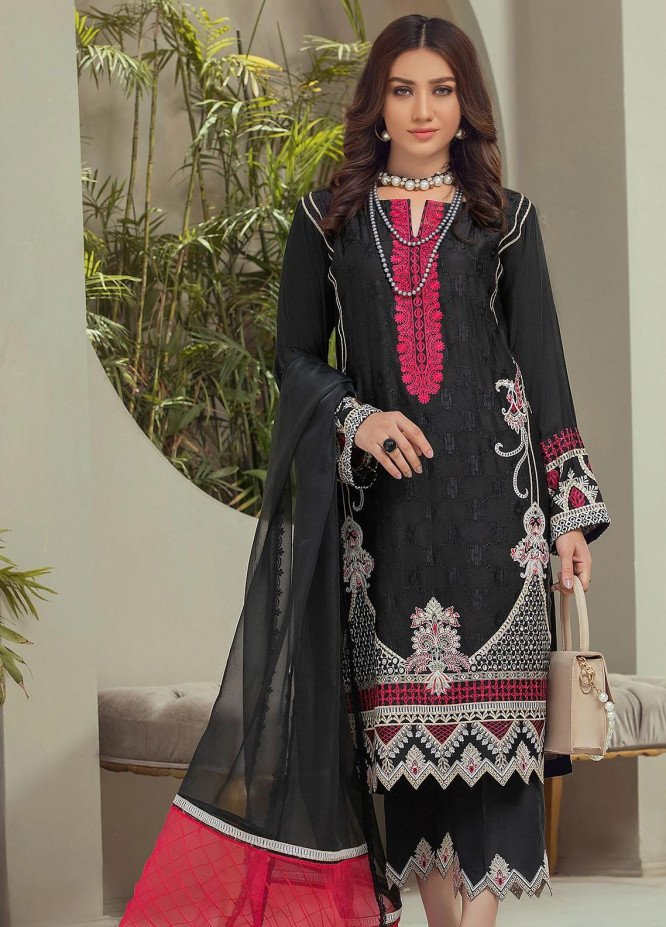Nurani By Elegance Embroidered Cotton Net Suits Unstitched 3 Piece ELG21N ANBAR - Festive Collection
