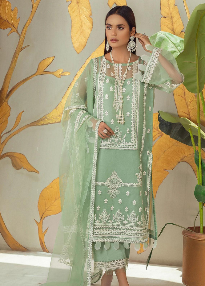 Nurani By Elegance Embroidered Organza Suits Unstitched 3 Piece ELG21N AZMEH - Festive Collection