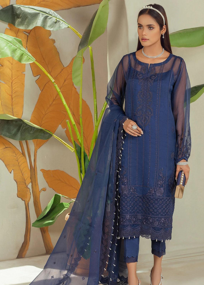 Nurani By Elegance Embroidered Organza Suits Unstitched 3 Piece ELG21N LAILA - Festive Collection