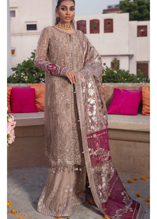 Nureh Embroidered Chiffon Suits Unstitched 3 Piece NU21JM NL-23 Bano - Luxury Formals Collection