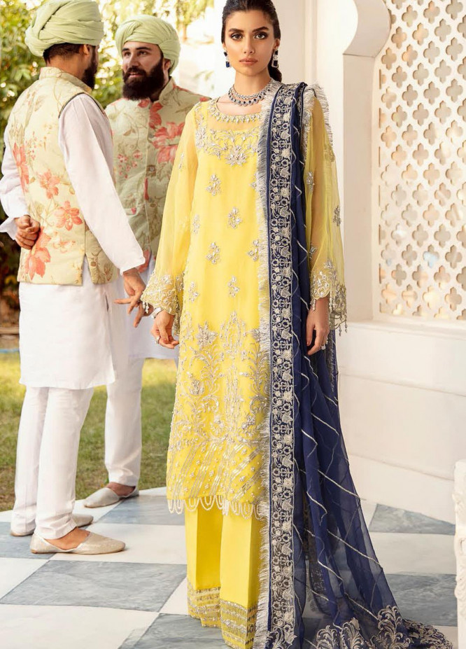 Nureh Mor Bagh by Riaz Arts Embroidered Organza Unstitched 3 Piece Suit RA20NL 15 Mavi - Luxury Formal Collection