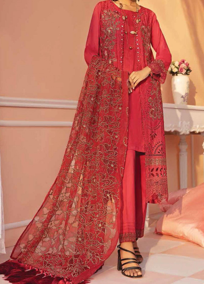 Nureh Embroidered Lawn Suits Unstitched 3 Piece NU21L 02 Ruby Lush - Luxury Collection