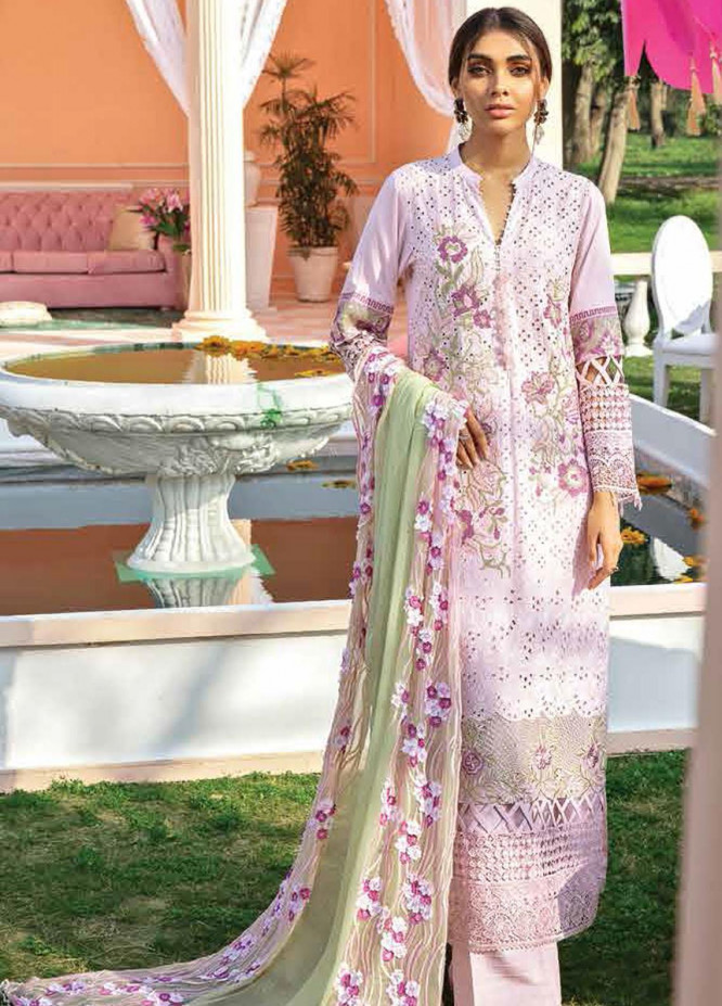 Nureh Embroidered Lawn Suits Unstitched 3 Piece NU21L 05 Flamingo Dreams - Luxury Collection